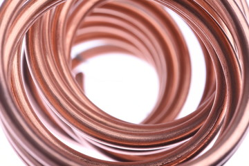 Copper Wire with Selective Focus Isolated on White Background