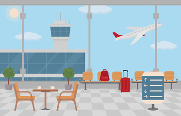Background of hall at airport. Waiting area and empty coffee table. Flat style, vector illustration.