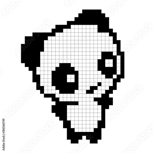 Pixel Art Panda Animal Character Stock Image And Royalty