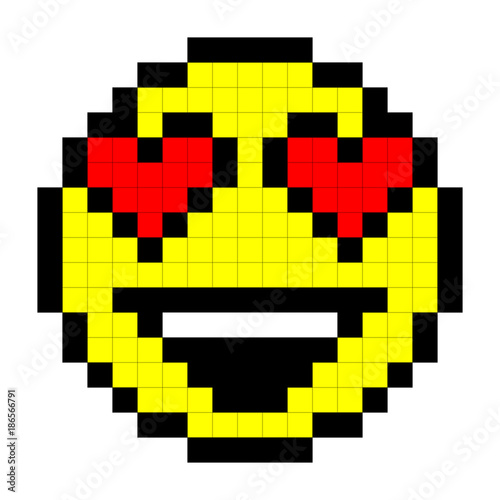 Smiley Pixel Art Style On White Background Vector Stock