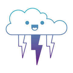 kawaii cloud with lightnings in degraded blue to purple color contour