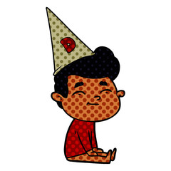 happy cartoon man sitting with dunce cap on head