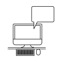 desktop computer with bubble dialogue in monochrome silhouette