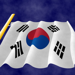 Korean Flag on the pole, view up