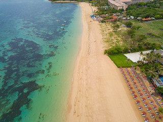 Aerial view of Nusa Dua beach from drone, Bali island, Indonesia