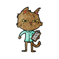 tough cartoon cat with clipboard