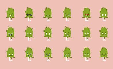 Cannabis emoji set.