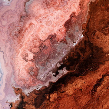 Rusty rose mineral marble, metal or wooden layers