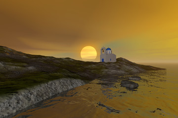 Sunset, a mediterranean landscape, a church with a bell tower, waves in the sea and a colored sky.
