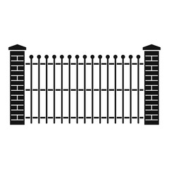 Brick and metal fence icon. Simple illustration of brick and metal fence vector icon for web.