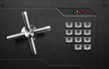 Realistic safe lock metal element on brushed black iron background with rivet. Stainless steel wheel. Vector icon design element. Retro style keypad buttons panel. Safety privacy protection concept.