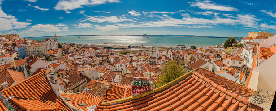 Portugal Lisbon panorama view of the city, roof tops from high point