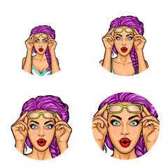 Set of vector pop art round avatar icons for users of social networking, blogs, profile icons. Surprised woman with purple hair in glasses raised on her forehead and with wide open eyes and red lips