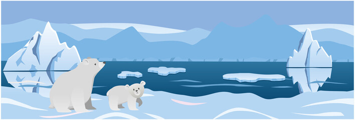 two white bear in the background Arctic ice. vector illustration
