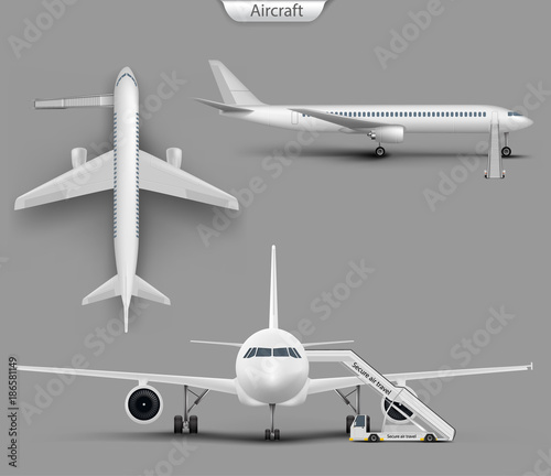 Vector realistic white aircraft mockup set  Blank airplane, airliner
