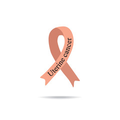 Cancer Ribbon. Uterine cancer. International Day of cancer. World Cancer Day. Vector illustration on isolated background