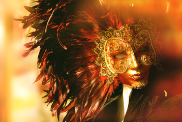 Traditional venetian mask in store on street, Venice Italy. Carnival of Venice. Instagram filter applied.