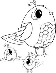 Cute Birds Vector Illustration Art