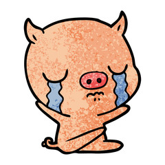 cartoon sitting pig crying