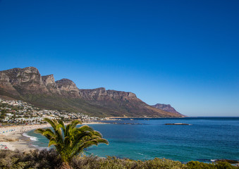 Landscape of Cape Town with seldom view of the Table Mountain without clouds in South Africa