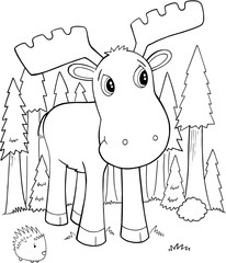 Cute Moose Vector Illustration Art