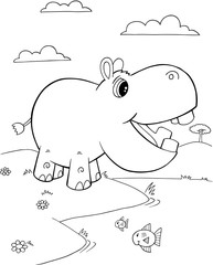 Cute Hippopotamus Vector Illustration Art