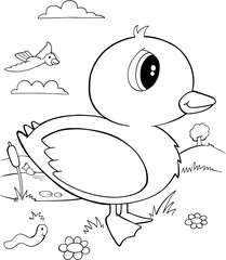 Cute Duck Bird Vector Illustration Art