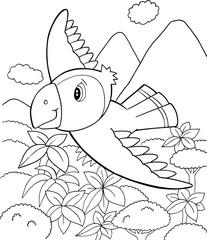 Fototapeten Cartoon draw Cute Parrot Bird Vector Illustration Art
