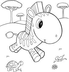 Cute Zebra Vector Illustration Art