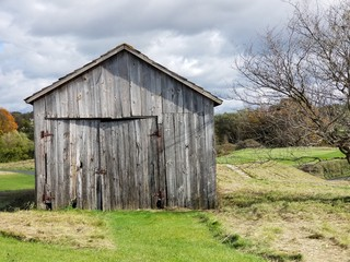 Rustic farm building front and door
