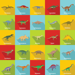 Lamas personalizadas infantiles con tu foto Dinosaur types signed name icons set. Flat illustration of 25 dinosaur types signed name vector icons for web