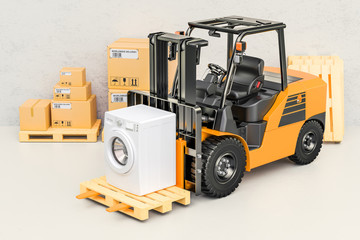 Forklift  truck with washing machine. Appliance delivery, 3D rendering