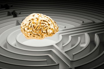 Human brain at the center of a maze. 3D rendering