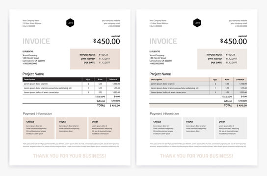 Elegant invoice template design vector - grey beige color