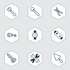 Apparatus icons set with clippers, timer, alkaline and other scoop   elements. Isolated  illustration apparatus icons.
