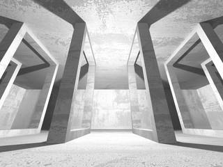 Dark empty room. Concrete rusty walls. Architecture background