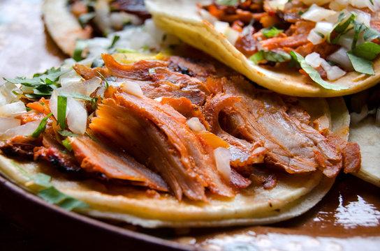 Tacos al pastor close up