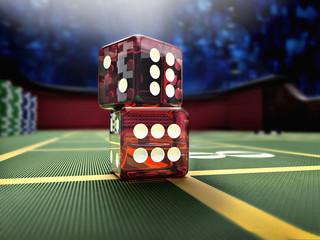 dices throw on craps casino table