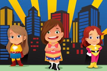 Three Little Girls Wearing Superheroes Illustration