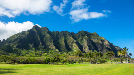 Koolau mountain range in Hawaii
