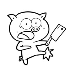 cartoon pig shouting and kicking