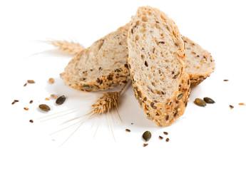 Three slices of multigrain bread.