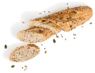 Sliced grain bread.