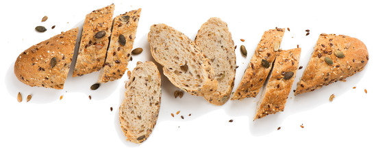 Grain bread with seeds.Above view.