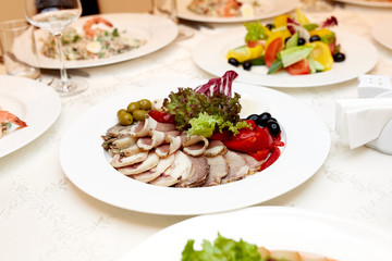 Dinner in a white plate