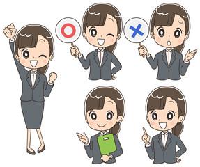 若いビジネスウーマン 就活生のイラスト(セット)