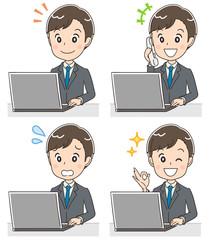 若いビジネスマン 就活生のイラスト パソコン