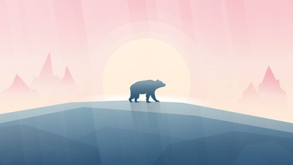 Vector illustration of beautiful landscape with Canadian symbol animal - wild bear silhouette in Violet palette. Pinky sunrise. Mountains top view. Mammal grizzly, black, brown, polar bear or kermode.