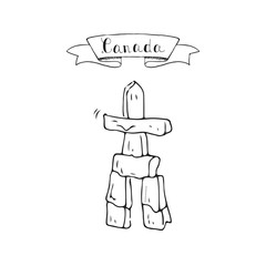 Hand drawn doodle Canada culture indigenous people landmark - totem pole inuksuk icon Vector illustration canadian isolated symbol on white Cartoon element stone relegion sign Aboroginal cairn element