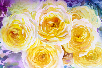Painting flora art watercolor  original  illustration yellow color of roses.